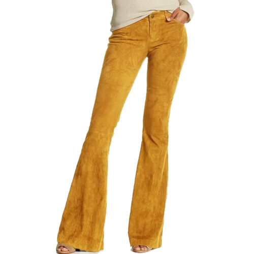 Le donne in finta pelle scamosciata tinta unita vita alta Flare gamba larga pantaloni Bell Bottom Pants supe