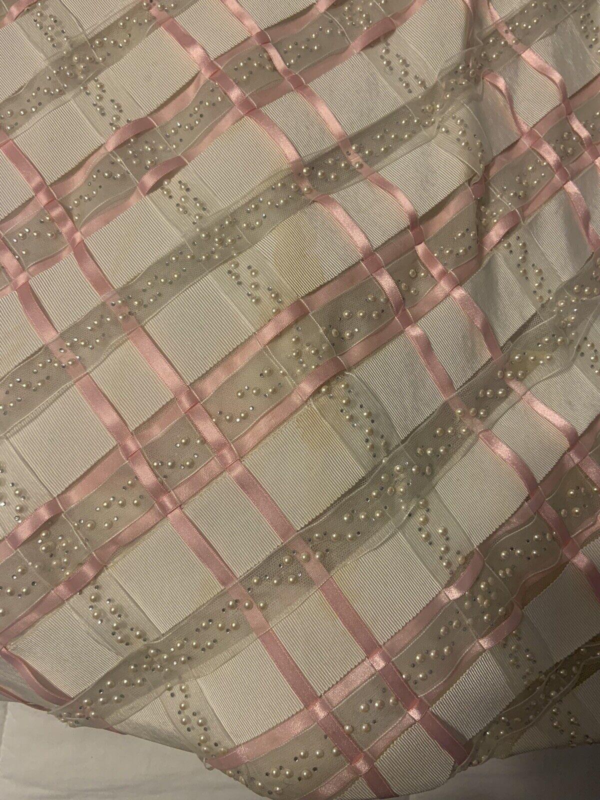 Arnold Scaasi Vtg Couture Pink Rhinestone Bodice/… - image 6