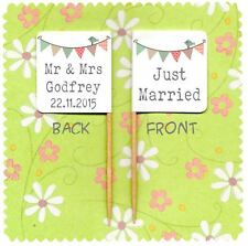 20 PERSONALISED JUST MARRIED CUP CAKE FLAG Wedding Party Pick Topper Bunting