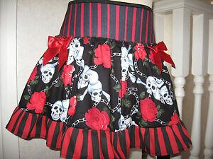 NEW  Baby Girls Black red white skulls Roses pleated Skirt Alternative Gift Rock