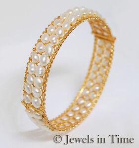 Pearl-amp-18k-Yellow-Gold-Bangle-Bracelet
