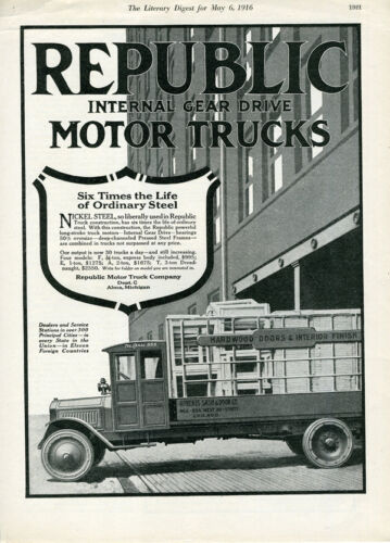 1916 Advertisement for the Republic Motor Truck w Truck Shown