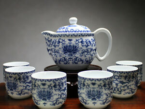 chinesisches teeservice porzellan blumenornament asiatisches geschirr blau wei ebay. Black Bedroom Furniture Sets. Home Design Ideas