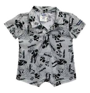 Oshkosh-B-039-gosh-Football-Mania-Print-Collared-Romper-Size-18-mos-crzyj