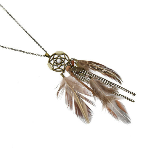 Boho Dream Catcher Feather Pendant Chain Necklace Women Jewelry Vintage Gifts
