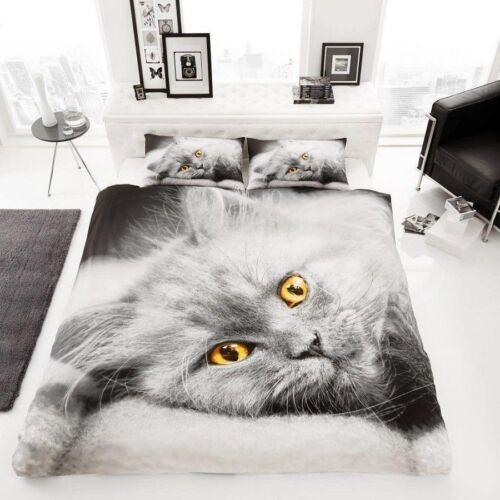3D Gatito Gato de algodón cubierta del edredón edredón impreso lecho solo Doble King