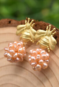 B15 Earrings Bee With Ball From Pink Freshwater Pearls Silver 925 Gold Plated
