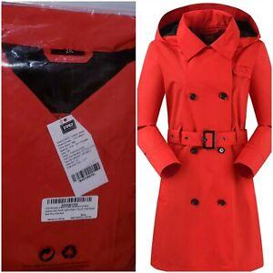 Women's Rain Jacket Waterproof Lightweight Windproof Coat Red with Hood&Belt 2XL