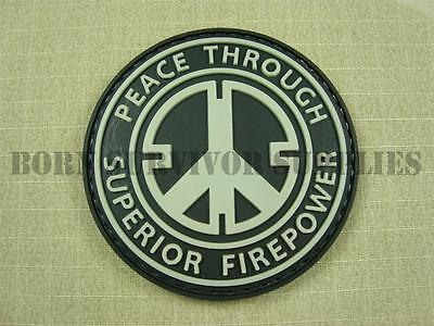 PEACE THROUGH SUPERIOR FIREPOWER VELCRO PVC RUBBER PATCH - Airsoft Morale Badge