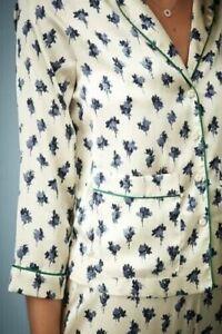 Topshop-Kate-Moss-silky-feel-casual-pyjama-designer-top-blouse-Cream-blue-floral