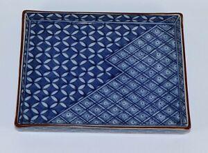 Vtg-1960-039-s-Fitz-amp-Floyd-Vibrant-Trinket-Tray-FF-Japan-blue-geometric-design