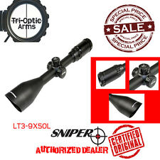 Sniper® LT3-9x50L Rifle Scope w/ Rings, Integral Sunshade, and Flip Lens Caps