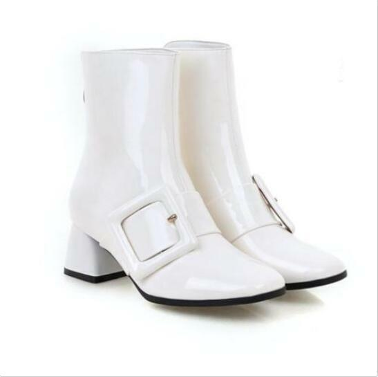 Fashion Mid Heel Pointy Toe Ankle Boots Shoes Buckle Womens Patent Leather Size