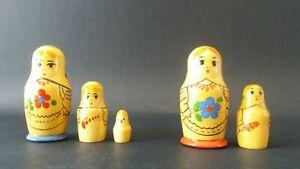 2 Petits Set De Vintage Mytryoska Russian Nesting Dolls Doux Et Doux