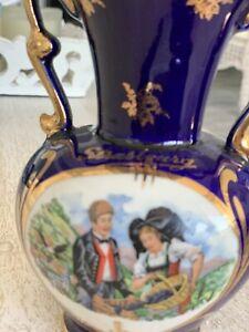 Vintage Cobalt Blue And Gold French Porcelain Vase From Strasbourg, France.