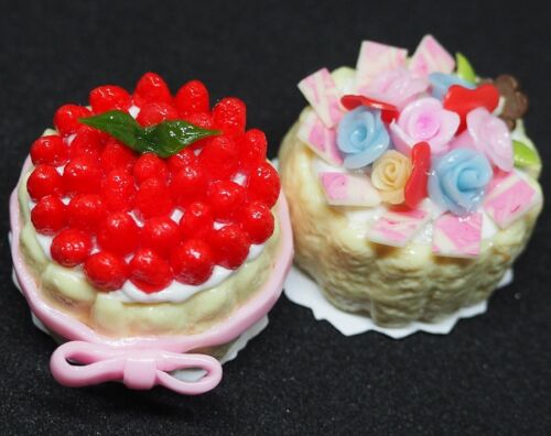 Dollhouse Miniatures 2 Lady Finger Cakes Fruits Strawberry Rose Top Food Bakery