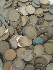 Bulk-British-Pennies-8-1kg-about-900-Coins-From-Victoria-To-Elizabeth-II
