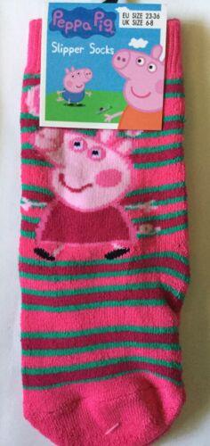 1 pair Girls Slipper socks with Peppa Pig detail Shoe size Infant 6-8
