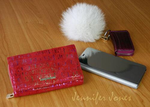 Rot Große Damen Geldbörse Geldbeutel aus Wildleder Portemonnaie viel Stauraum