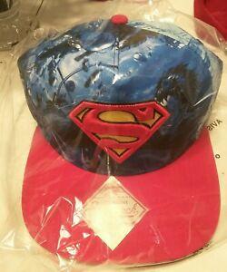 311c0e05b746a 3 Superman Snapback Flat Bill Hat DC Comics All Over Print Bioworld ...