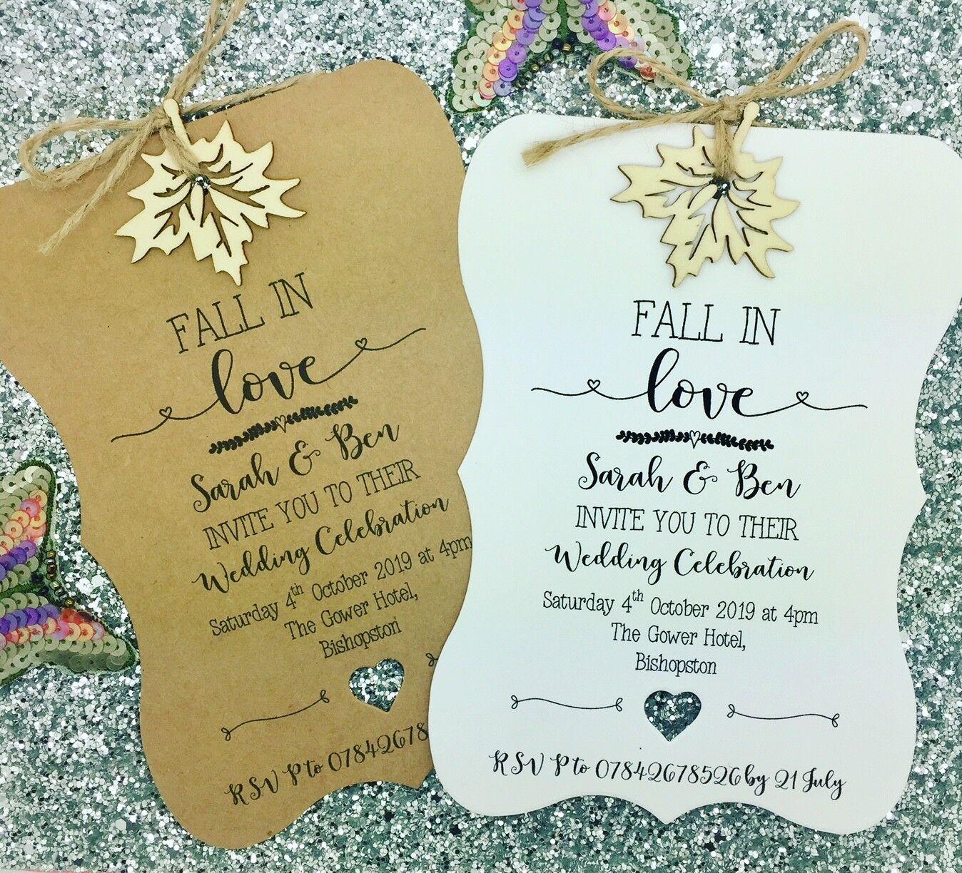 Rústico otoño invitación de boda, caída invitación de boda, se enamoran + RSVP