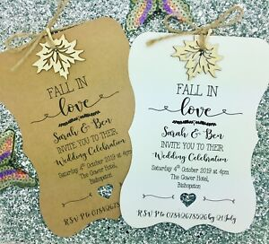 Details About Rustic Autumn Wedding Invitation Fall In Love Rsvp
