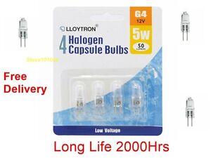 Pack-4-G4-5-Watt-12-Volt-Halogen-Capsule-Lamp-Bulb-5w-12v-Long-Life