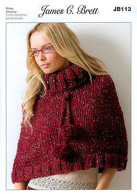 Ladies Poncho JB113 Knitting Pattern James C Brett Rustic Mega Chunky
