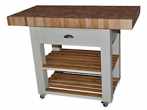 Kitchen Island 120cm butchers block kitchen island , trolly with double overhang 120cm