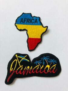 Africa-Map-Jamaica-Embroidered-Iron-On-Sew-On-Patch-Badge-For-Clothes-etc
