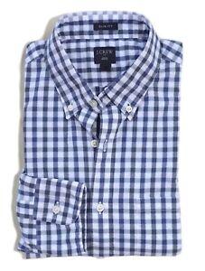 J-Crew-Factory-Men-039-s-XL-Slim-Fit-NWT-Tonal-Navy-Gingham-Washed-Cotton-Shirt