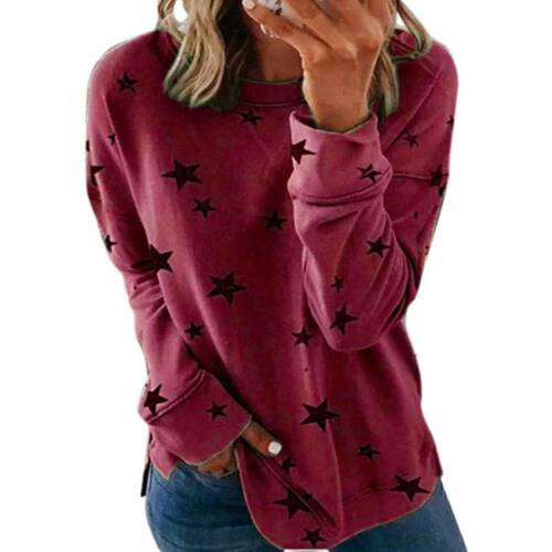 Plus Size Women Long Sleeve T-Shirt Blouse Crew Neck Casual Baggy Loose Tee Tops
