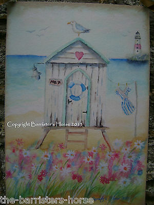 BEACH HUT, NAUTICAL PAINTING PRINT, PLAQUE, PICTURE, SEASIDE ART, WATERCOLOUR