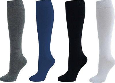 1 Or 3 Or 6 Pair Women Long Knee High Cotton Plain Socks
