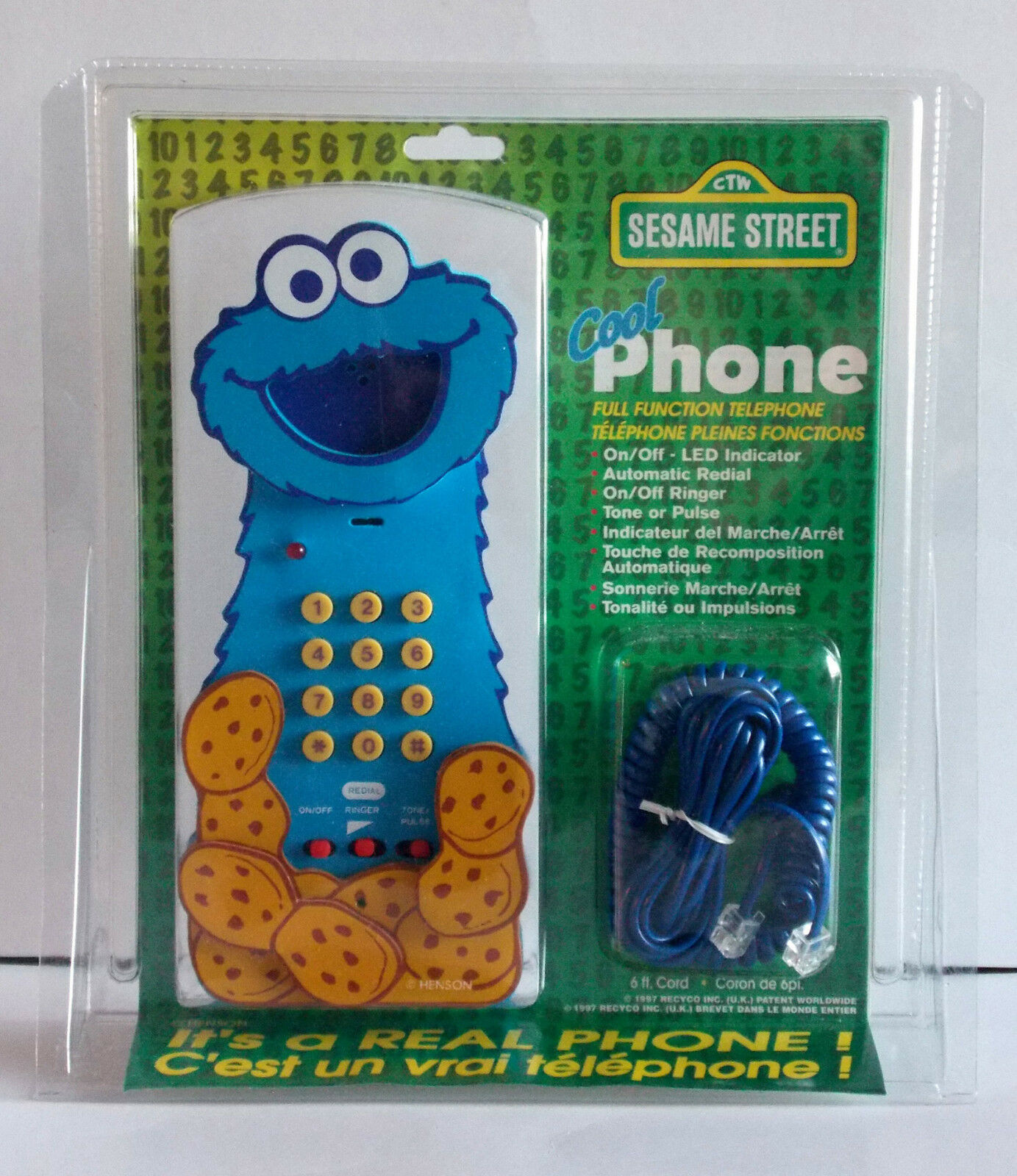 LOT OF 3 DIFFERENT SESAME STREET TELEPHONES FROM 1997, REAL CORDED PHONE
