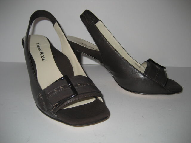 NEW  425 Taryn Rosa braun Leather and 6.5 Microfiber Slingback Heels schuhe 6.5 and 36.5 178a9c