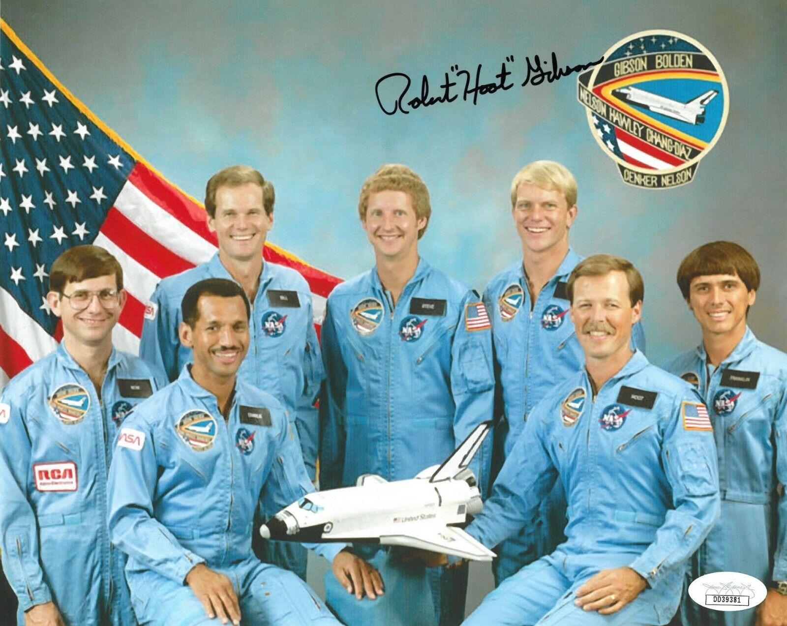 """s l1600 - Robert """"Hoot"""" Gibson signed NASA Astronaut Pilot 8x10 Photo- JSA #DD39381"""