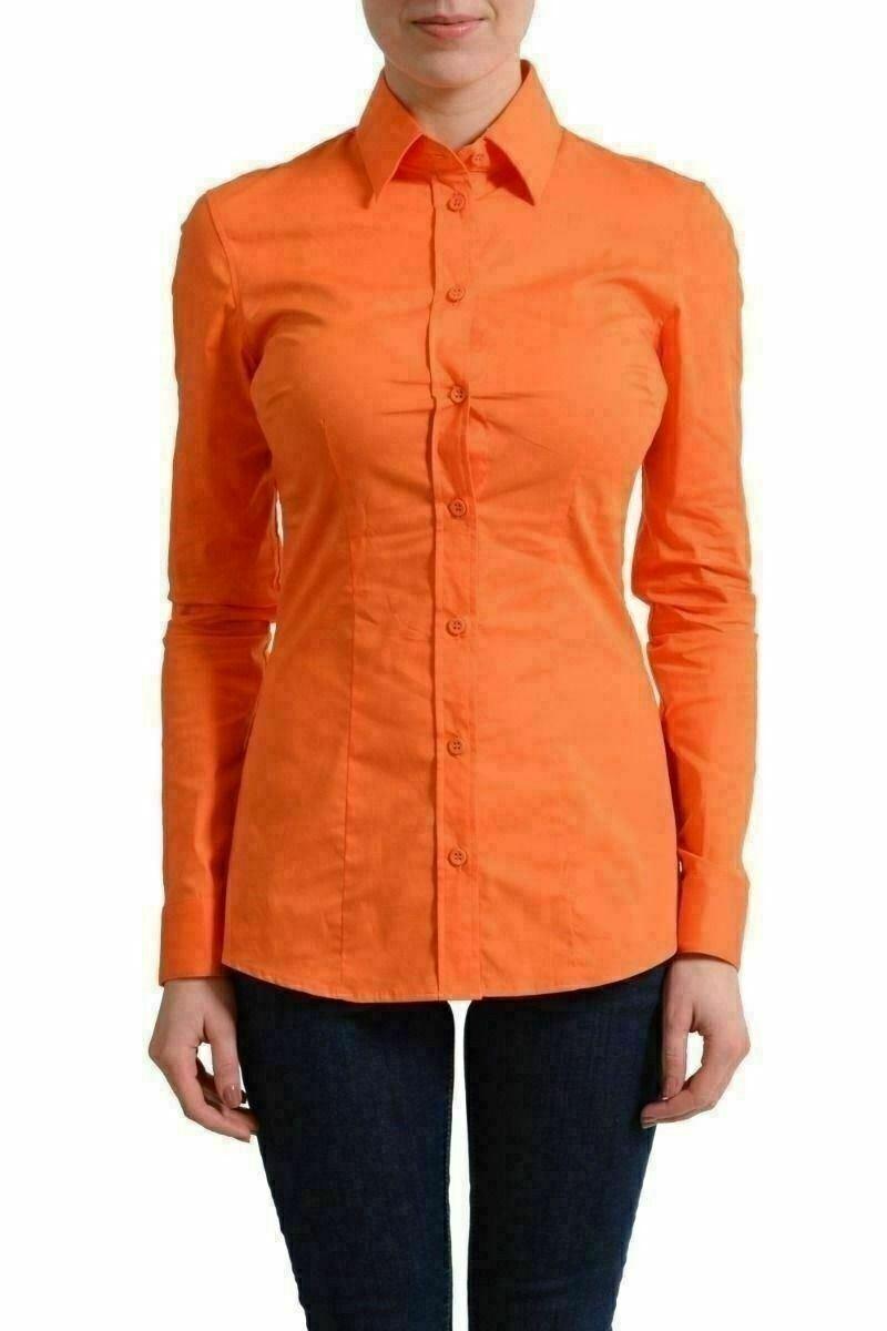 Versace Collecion Orange Long Sleeves Button Down Shirt US S IT 40