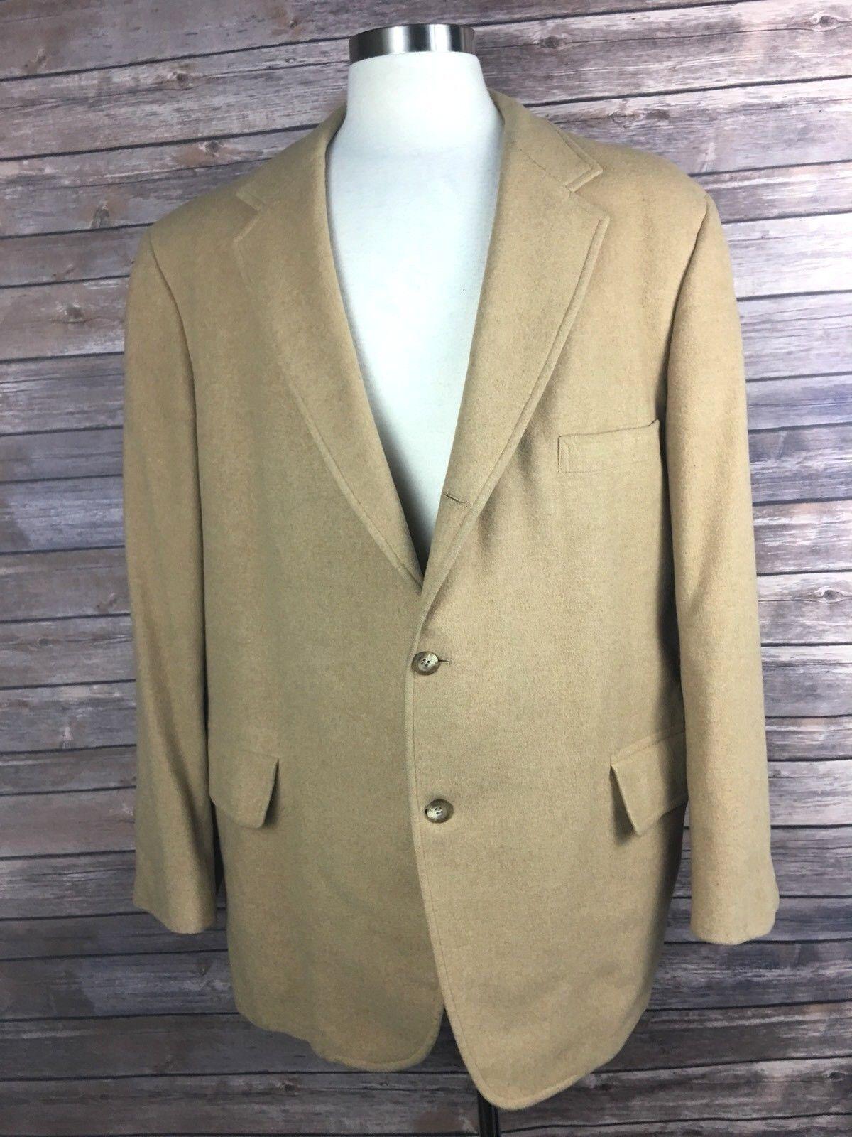Tweeds & Weeds  Herren 46 100% Camel Hair Vintage 3 Button Sport Coat Blazer X5