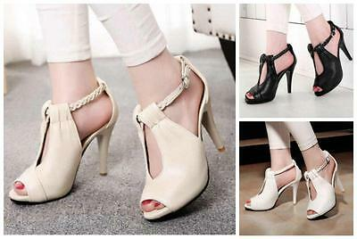 Sexy Women High Heels Pumps Ankle Strap Sanda Ladies Shoes Peep Toe Casual Shoes