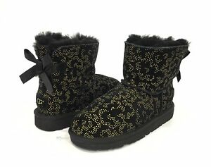 3c8dd5feb53 Details about UGG MINI BAILEY BOW METALLIC CONIFER BOOTS BLACK SUEDE US  KIDS SIZE 3 -NEW