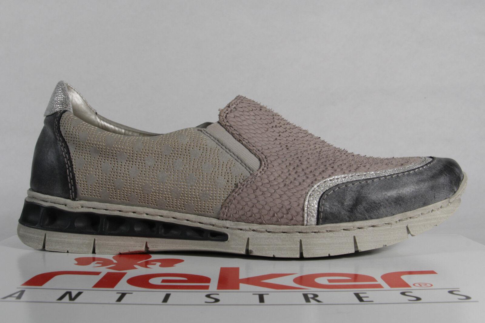 Rieker Slipper Halbschuhe Sneakers Halbschuhe Slipper Leder/Kunstleder grau NEU 33bfa3