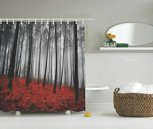 Image Is Loading Gray Forest Trees Red Ferns Photo Fabric Shower