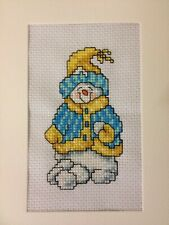 Darling Snowman Finished Completed Cross Stitch Card Adorable Scarf