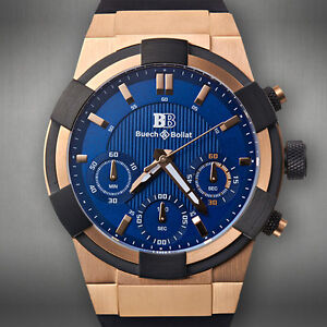 850f907000ef43 Image is loading Buech-amp-Boilat-Chronograph-Liege-Mens-Watch-AVAILABLE-