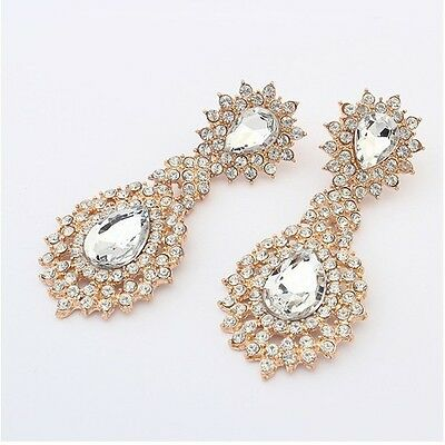 New Fashion Party Full Rhinestone Crystal Drop Big Dangle Golden Earring Stud