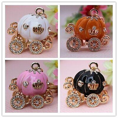 Pumpkin Carriage Crystal Keychain Rhinestone Key ring Christmas Gift YSK186