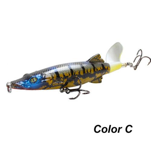 1PC Fishing Lure 16g 130mm Topwater Rotating Tail VMC Hooks Bass Fishing Bait