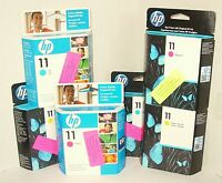 Set Of 3 Sealed Genuine Hp 11 Color (cym) Expired