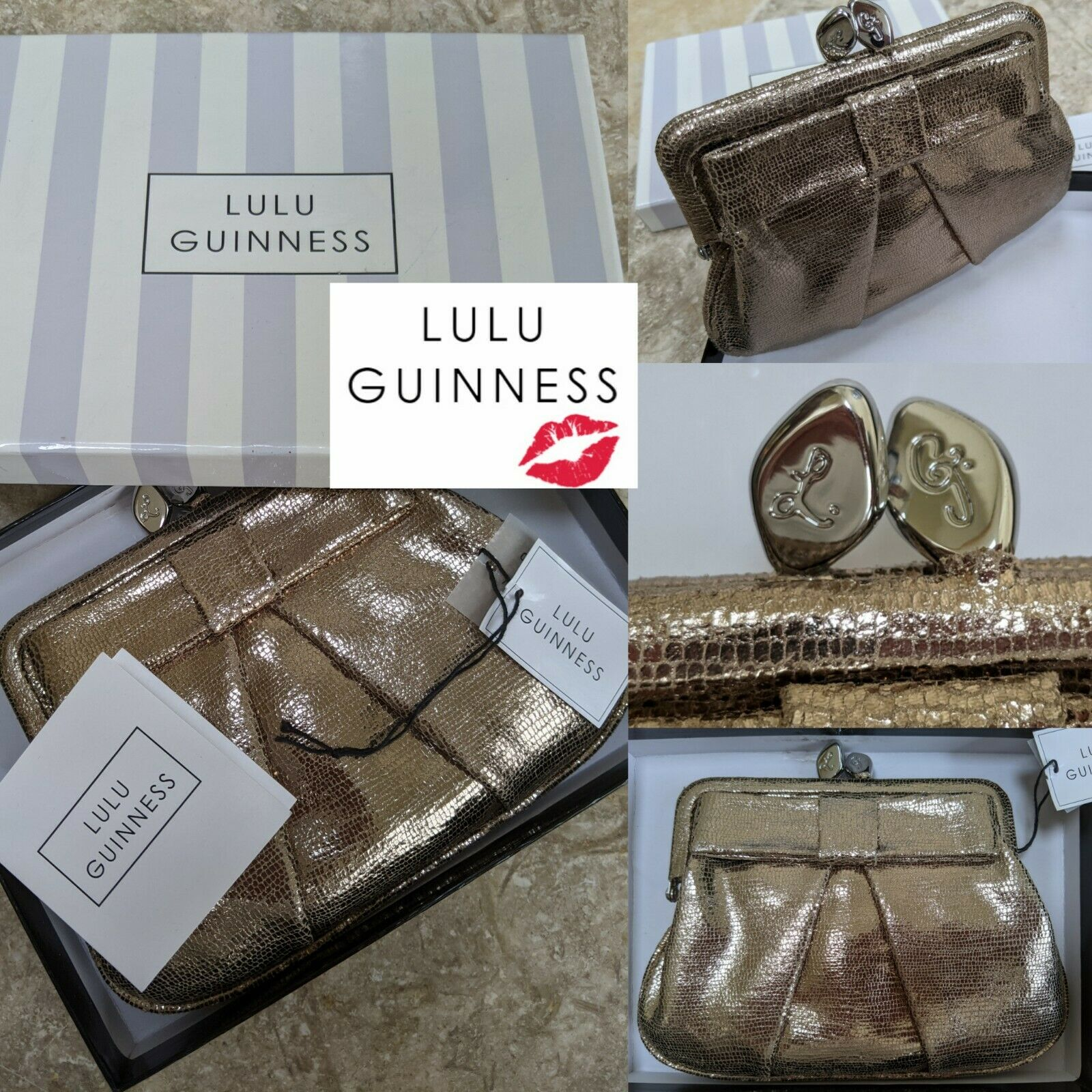 LULU GUINNESS LARGE PLATINUM CHAMPAGNE SPARKLE LEATHER FRAME BOW CLASP PURSE NEW